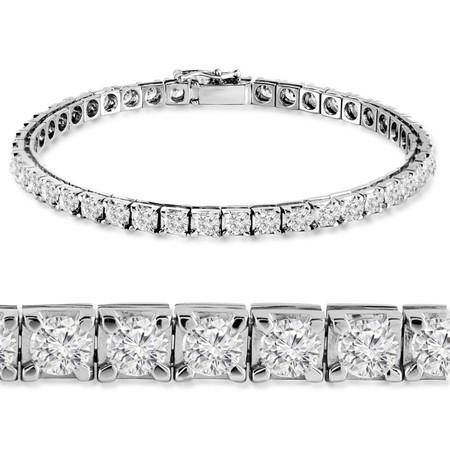 Round Cut Diamond Multi-Stone 4-Prong Tennis Bracelet in White Gold - #RB-3422-W