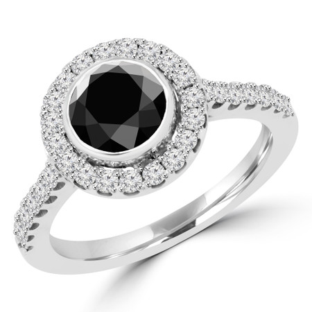 Round Cut Black Diamond Multi-Stone Bezel-Set Halo Engagement Ring with Round Diamond Accents in White Gold - #DARIA-BLK-W
