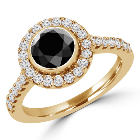 Round Cut Black Diamond Multi-Stone Bezel-Set Halo Engagement Ring with Round Diamond Accents in Yellow Gold - #DARIA-BLK-Y