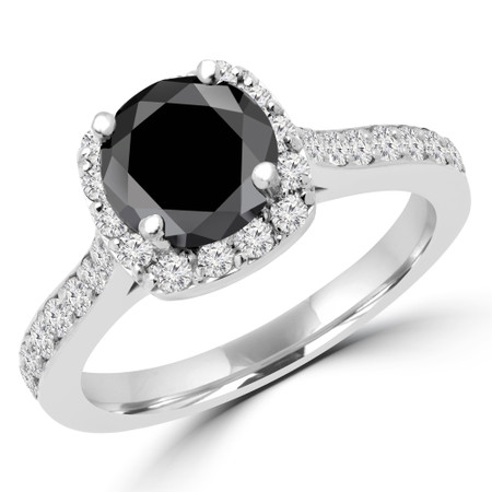 Round Cut Black Diamond Multi-Stone 4-Prong Halo Engagement Ring in White Gold - #MILLA-W-BLK