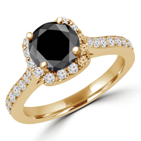 Round Cut Black Diamond Multi-Stone 4-Prong Halo Engagement Ring in Yellow Gold - #MILLA-Y-BLK