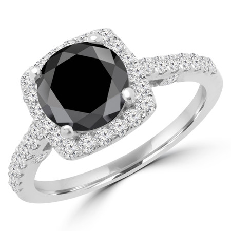 Round Cut Black Diamond Multi-Stone 4-Prong Halo Engagement Ring with Round Diamond Accents in White Gold - #KAROLINA-BLK-W