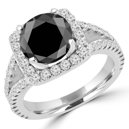 Round Cut Black Diamond Multi-Stone 4-Prong Halo Engagement Ring with Round Diamond Accents in White Gold - #KAREN-BLK-W