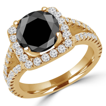 Round Cut Black Diamond Multi-Stone 4-Prong Halo Engagement Ring with Round Diamond Accents in Yellow Gold - #KAREN-BLK-Y