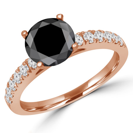 Round Cut Black Diamond Multi-Stone 4-Prong Engagement Ring with Round Diamond Accents in Rose Gold - #ELSA-BLK-R