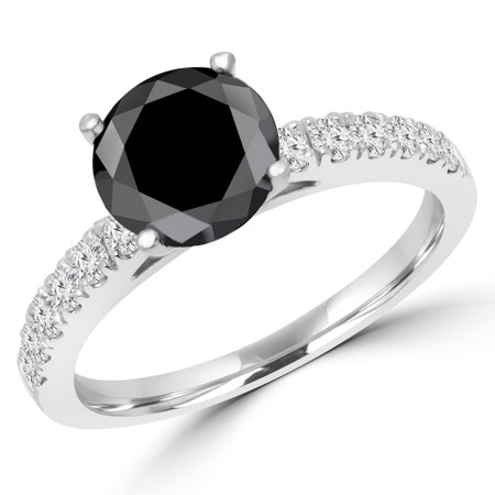 Round Cut Black Diamond Multi-Stone 4-Prong Engagement Ring with Round Diamond Accents in White Gold - #ELSA-BLK-W