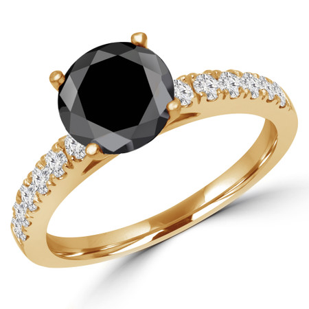 Round Cut Black Diamond Multi-Stone 4-Prong Engagement Ring with Round Diamond Accents in Yellow Gold - #ELSA-BLK-Y