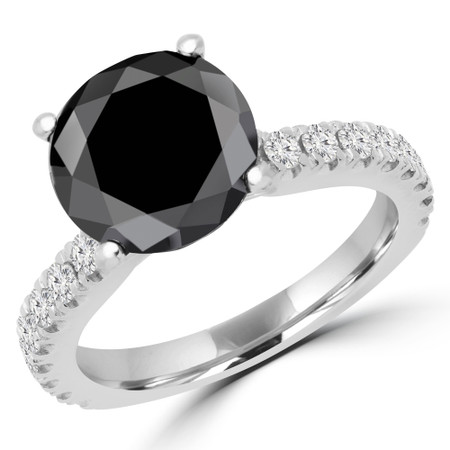 Round Cut Black Diamond Multi-Stone 4-Prong Engagement Ring with Round Diamond Accents in White Gold - #IMAN-BLK-W
