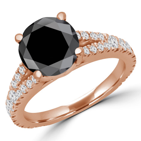 Round Cut Black Diamond Multi-Stone 4-Prong Split-Shank Engagement Ring with Round Diamond Accents in Rose Gold - #CATHLEEN-BLK-R
