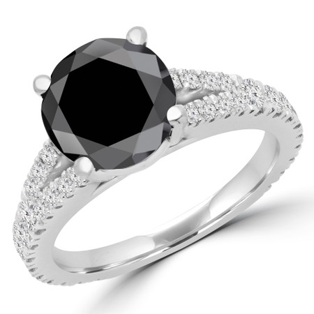 Round Cut Black Diamond Multi-Stone 4-Prong Split-Shank Engagement Ring with Round Diamond Accents in White Gold - #CATHLEEN-BLK-W