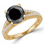 Round Cut Black Diamond Multi-Stone 4-Prong Split-Shank Engagement Ring with Round Diamond Accents in Yellow Gold - #CATHLEEN-BLK-Y