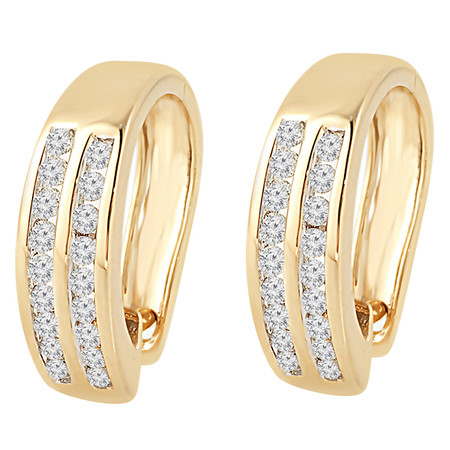 Round Cut Diamond Multi-Stone 2-Row Huggie Hoop Channel-Set Earrings in Yellow Gold - #HE2046-Y