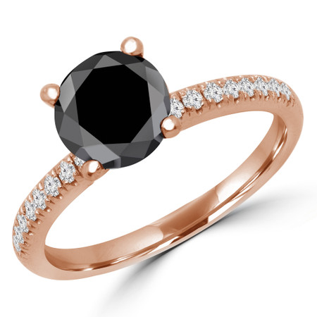 Round Cut Black Diamond Multi Stone 4-Prong Engagement Ring in Rose Gold - #NALA-R-BLK