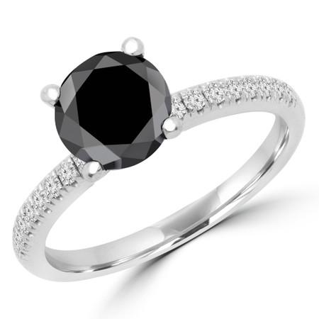 Round Cut Black Diamond Multi Stone 4-Prong Engagement Ring in White Gold - #NALA-W-BLK