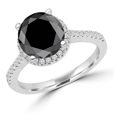 Round Cut Black Diamond Multi-Stone 4-Prong Halo Engagement Ring with Round Diamond Accents in White Gold - #AURORA-BLK-W