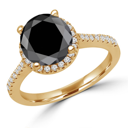 Round Cut Black Diamond Multi-Stone 4-Prong Halo Engagement Ring with Round Diamond Accents in Yellow Gold - #AURORA-BLK-Y