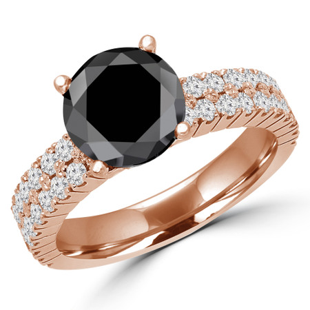 Round Cut Black Diamond Multi-Stone 4-Prong Two-Row Engagement Ring with Round Diamond Accents in Rose Gold - #GRETA-BLK-R