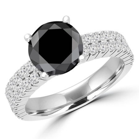 Round Cut Black Diamond Multi-Stone 4-Prong Two-Row Engagement Ring with Round Diamond Accents in White Gold - #GRETA-BLK-W
