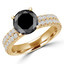 Round Cut Black Diamond Multi-Stone 4-Prong Two-Row Engagement Ring with Round Diamond Accents in Yellow Gold - #GRETA-BLK-Y