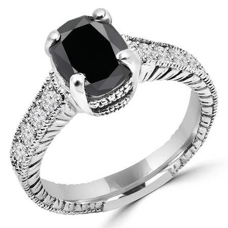 Oval Cut Black Diamond Multi-Stone Vintage Engagement Ring with Round White Diamond Accents in White Gold - #S142060-W-BLK