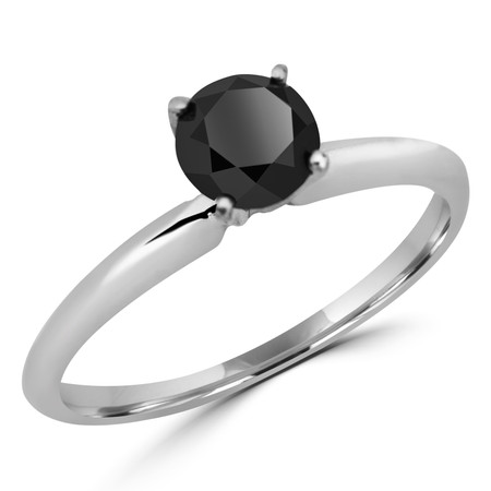Round Cut Black Diamond Solitaire 4-Prong Engagement Ring in White Gold - #S4R-W-BLK