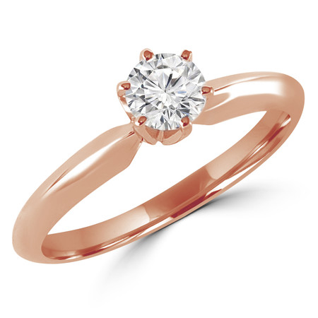 Round Cut Diamond Solitaire 6-Prong Engagement Ring in Rose Gold - #S6R-R