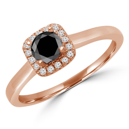 Round Cut Black Diamond Multi-Stone 4-Prong Halo Engagement Ring with Round Diamond Accents in Rose Gold - #LETIZA-BLK-R