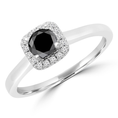 Round Cut Black Diamond Multi-Stone 4-Prong Halo Engagement Ring with Round Diamond Accents in White Gold - #LETIZA-BLK-W