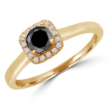 Round Cut Black Diamond Multi-Stone 4-Prong Halo Engagement Ring with Round Diamond Accents in Yellow Gold - #LETIZA-BLK-Y