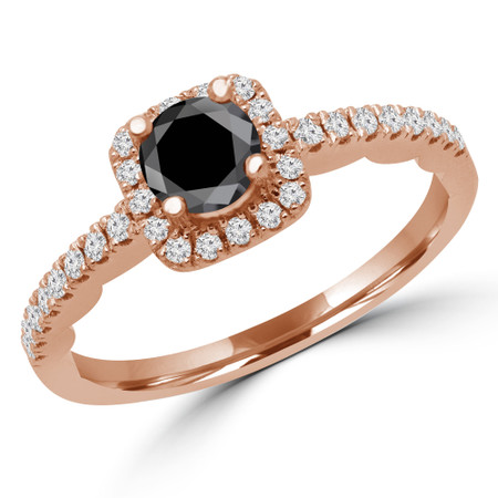 Round Cut Black Diamond Multi-Stone 4-Prong Halo Engagement Ring with Round Diamond Accents in Rose Gold - #KAKO-BLK-R