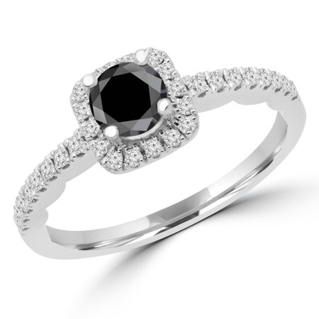 Round Cut Black Diamond Multi-Stone 4-Prong Halo Engagement Ring with Round Diamond Accents in White Gold - #KAKO-BLK-W
