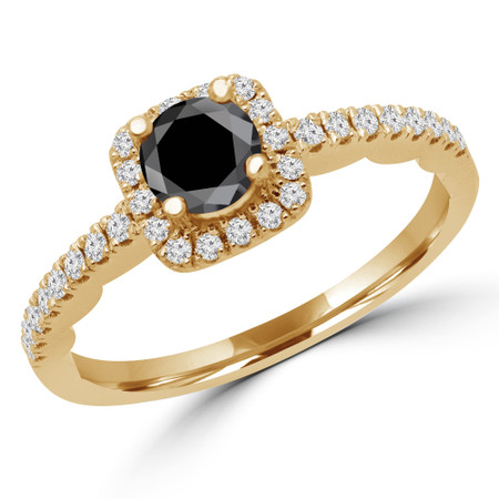 Round Cut Black Diamond Multi-Stone 4-Prong Halo Engagement Ring with Round Diamond Accents in Yellow Gold - #KAKO-BLK-Y