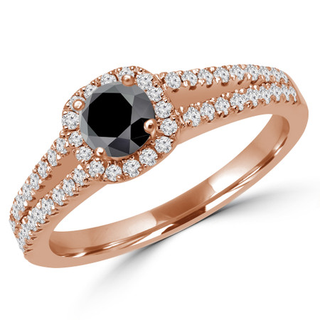 Round Cut Black Diamond Multi-Stone 4-Prong Split-Shank Halo Engagement Ring with Round Diamond Accents in Rose Gold - #ALANA-BLK-R