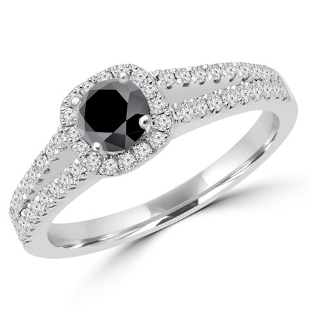 Round Cut Black Diamond Multi-Stone 4-Prong Split-Shank Halo Engagement Ring with Round Diamond Accents in White Gold - #ALANA-BLK-W
