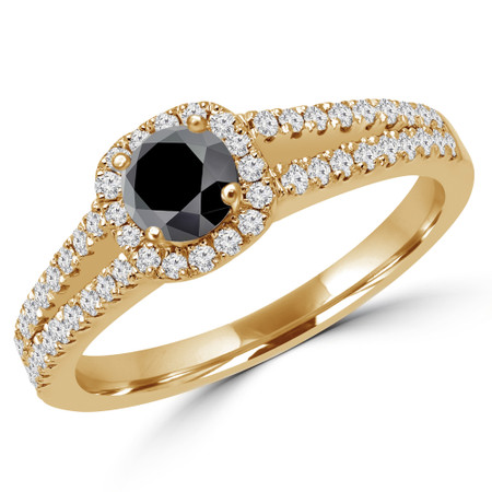 Round Cut Black Diamond Multi-Stone 4-Prong Split-Shank Halo Engagement Ring with Round Diamond Accents in Yellow Gold - #ALANA-BLK-Y