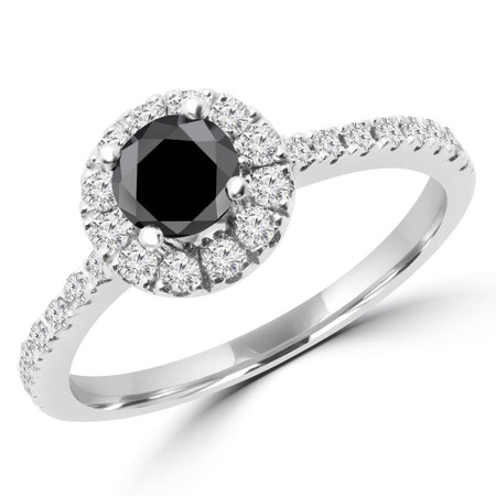 Round Cut Black Diamond Multi-Stone 4-Prong Halo Engagement Ring with Round Diamond Accents in White Gold - #LEIA-W-BLK