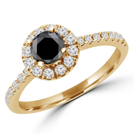Round Cut Black Diamond Multi-Stone 4-Prong Halo Engagement Ring with Round Diamond Accents in Yellow Gold - #LEIA-Y-BLK