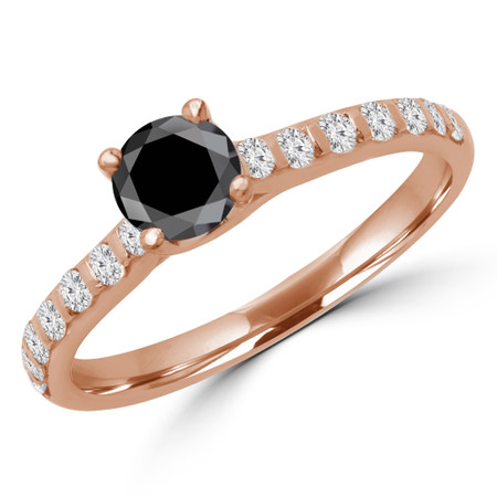 Round Cut Black Diamond Multi-Stone 4-Prong Engagement Ring with Round Diamond Accents in Rose Gold - #CALINA-BLK-R