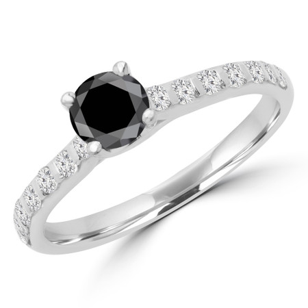 Round Cut Black Diamond Multi-Stone 4-Prong Engagement Ring with Round Diamond Accents in White Gold - #CALINA-BLK-W