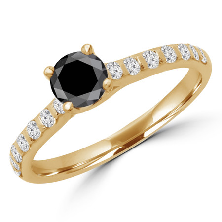 Round Cut Black Diamond Multi-Stone 4-Prong Engagement Ring with Round Diamond Accents in Yellow Gold - #CALINA-BLK-Y