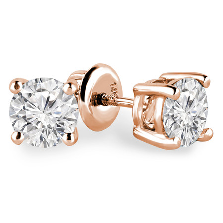 Round Cut Diamond Solitaire 4-Prong Stud Earrings with Screwbacks in Rose Gold - #R418-R