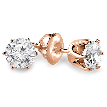 Round Cut Diamond Solitaire 6-Prong Stud Earrings with Screwbacks in Rose Gold - #G4D6-R