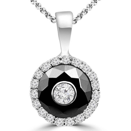 Round Cut White Diamond Bezel-Set Inside Black Diamond Multi-Stone Halo Pendant Necklace with Round White Diamond Accents & Chain in White Gold - #SIMION2