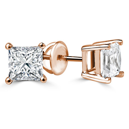 Princess Cut Diamond Solitaire 4-Prong Stud Earrings with Screwbacks in Rose Gold - #S415-R