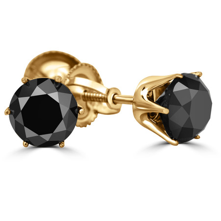 Round Cut Black Diamond Solitaire 6-Prong Stud Earrings with Screwbacks in Yellow Gold - #G4D6-Y-BLK