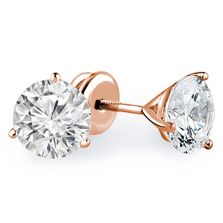Round Cut Diamond Solitaire 3-Prong Martini Setting Stud Earrings with Screwbacks in Rose Gold - #R443-R