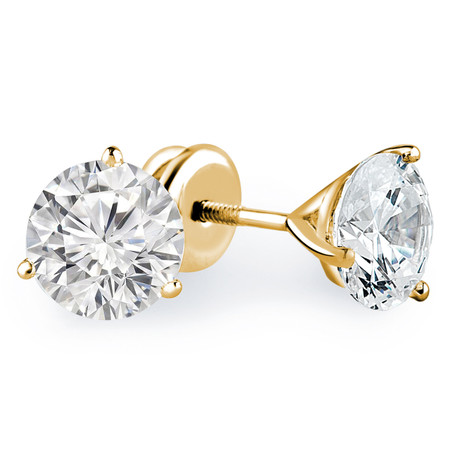 Round Cut Diamond Solitaire 3-Prong Martini Setting Stud Earrings with Screwbacks in Yellow Gold - #R443-Y