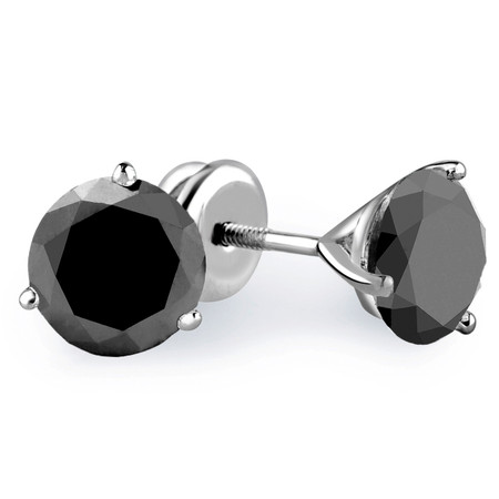 Round Cut Black Diamond Solitaire 3-Prong Martini Setting Stud Earrings with Screwbacks in White Gold - #R443-BLK-W