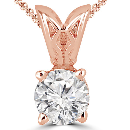 Round Cut Diamond Solitaire 4-Prong Decorative-Bail Pendant Necklace with Chain in Rose Gold - #PRF-R