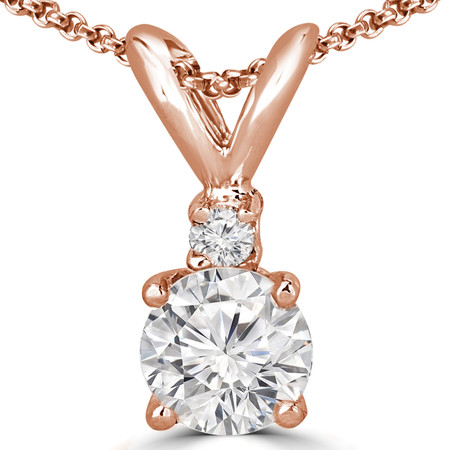 Round Cut Diamond Two-Stone 4-Prong Pendant Necklace with a Round Diamond Accent & Chain in Rose Gold - #R711-R